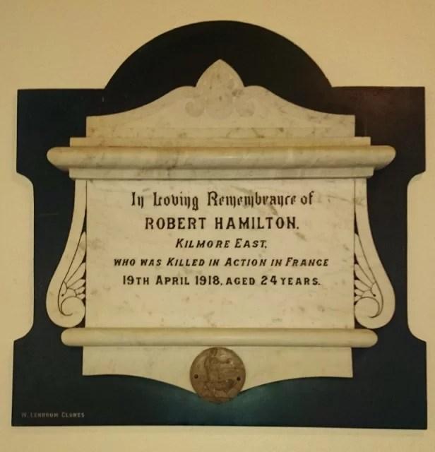 Plaque to Robert Hamilton in St Dympna's Ballinode Photo: @ Michael Fisher