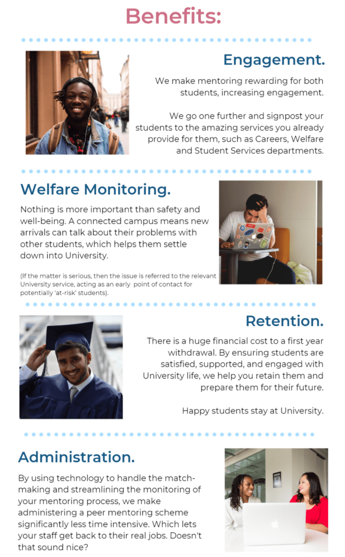 Put simply, we work with Universities to update their peer mentoring systems.