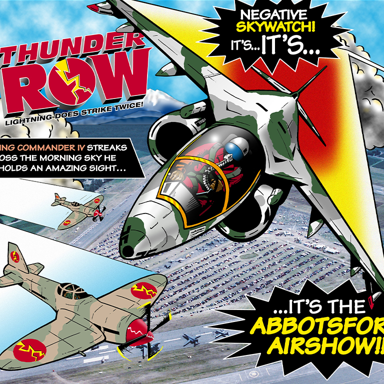 Abbotsford Airshow's Thunder Row artwork featuring 2 prop planes and one jet fighter over the airport.