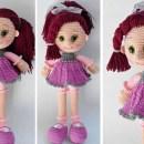 """Руководство по вязанию крючком игрушки """"Кукла в сиреневом платье"""""""