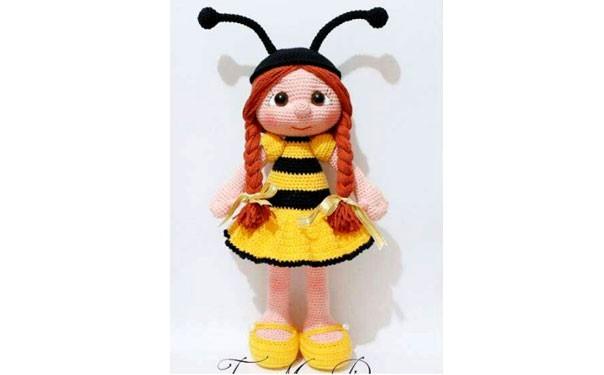 Вязаная крючком кукла. Девочка-пчелка. Описание