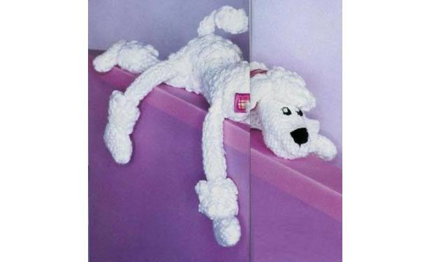 Вязаная собака белый пудель. Описание. Спицами