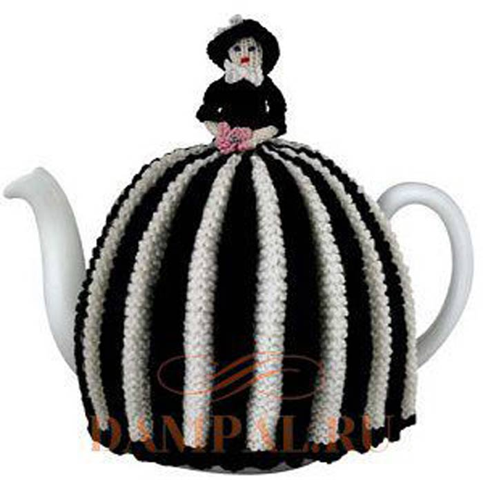 """Грелка на чайник """"Фарфоровая кукла"""". Спицами. Описание"""