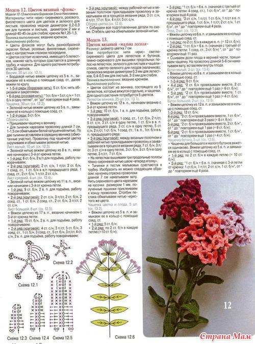 Вязаные цветы: мальва и флокс