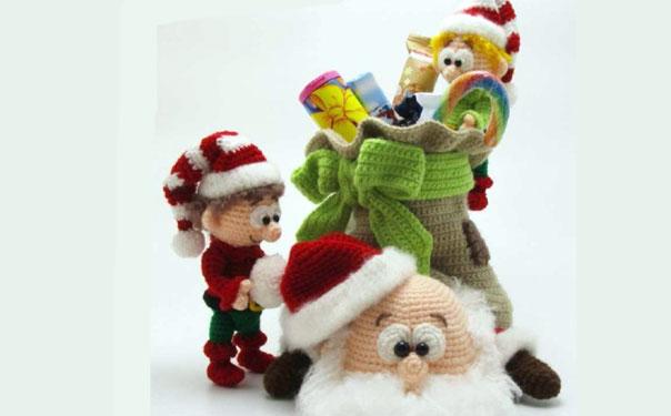 Санта Клаус и эльфы. Крючком.Схема