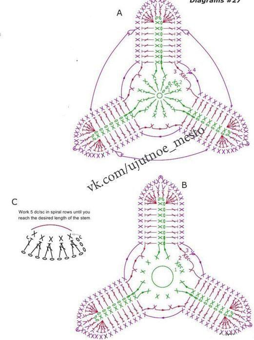 Вязаные тюльпаны. Схема