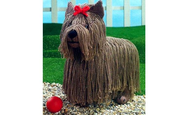 Вязаная собака йоркширский терьер. Описание