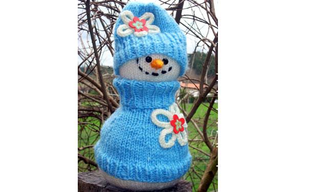 Вязаный снеговик. Спицами