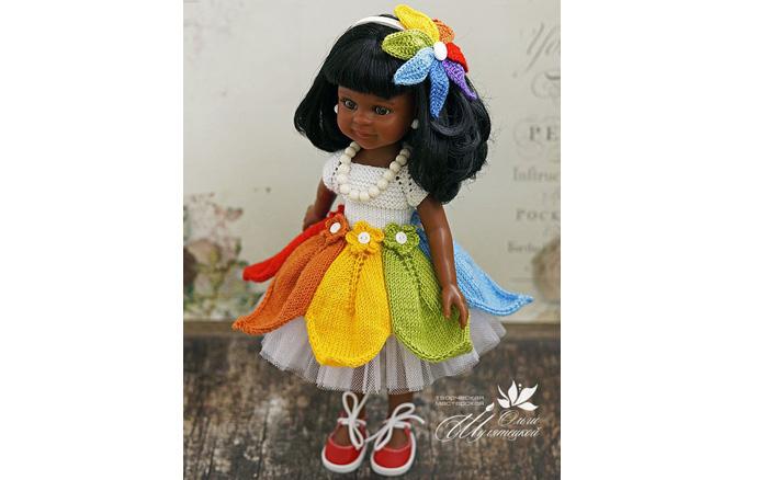 """Вязаное платье """"Акварельки"""" для куклы. Схема"""