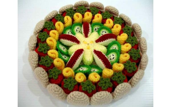 Вязаный крючком фруктовый пирог. Схема