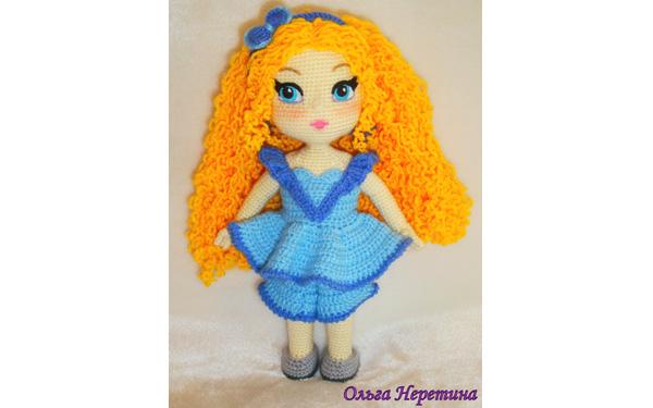 Вязаная крючком кукла с рыжими волосами. Мастер-класс
