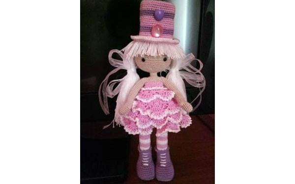 Вязана кукла в шляпе-цилиндре. Схема