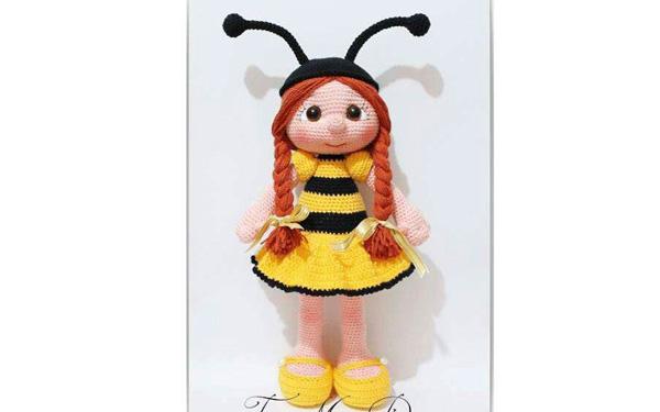 Вязаная кукла Девочка-пчелка. Схема