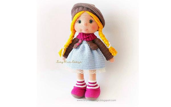 Вязаная кукла с косичками. Схема