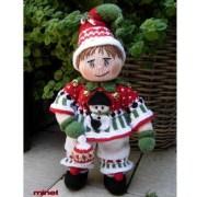 Вязаный спицами клоун в новогоднем костюмеJINGLE BOO