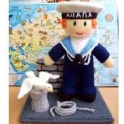 Вязаная кукла моряк из Анапы. Спицами