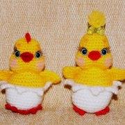 Вязаный Пасхальный сувенир Цыплята. Схема