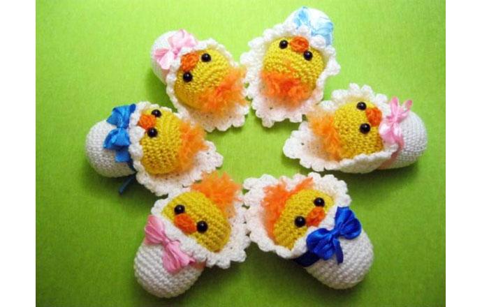 Вязаные новорожденные цыплята . Схема