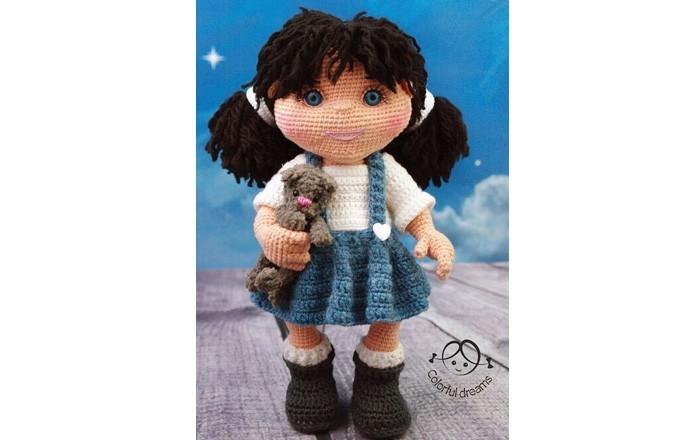 Вязаная кукла Маша с кошкой Муркой