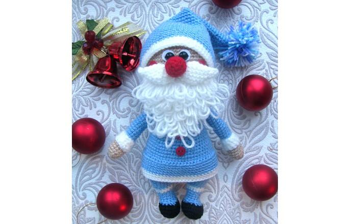 Вязаный Дед Мороз в голубом. Схема