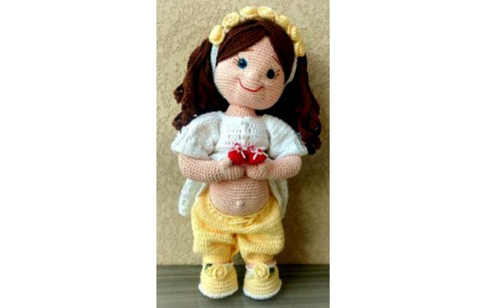 Вязаная крючком кукла Будущая мама. Схема