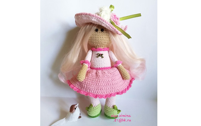 Вязаная кукла Розочка. Схема