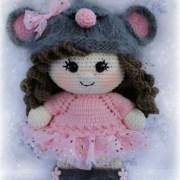 Пупс-малышка в костюме мышки. Крючком