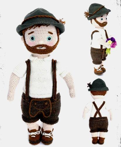Вязаная крючком кукла Альпен Франц. Описание
