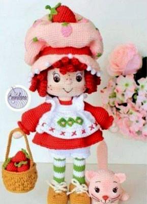 Вязаная кукла Маленькая клубничка
