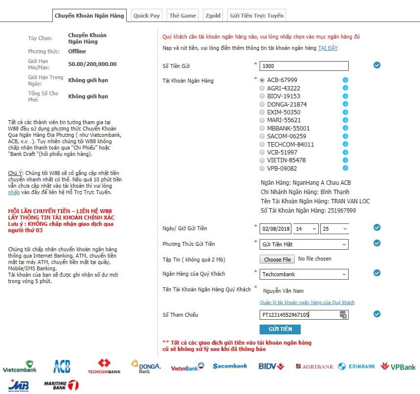 Hướng dẫn gửi tiền vào W88 tỷ lệ thành công 100% hình 4