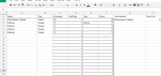 Deadzone Army List Generator created in Google Sheets by Tyler Provick.