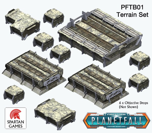 Contents of the Planetfall Terrain Box. Image copyright Spartan Games, used with permission.