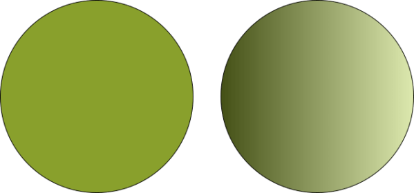 Two Circles, one solid, one with a gradiant