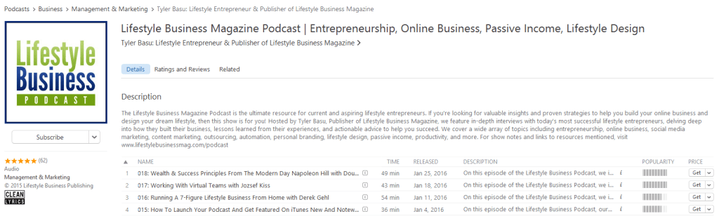 Lifestyle Business Magazine Podcast iTunes Listing