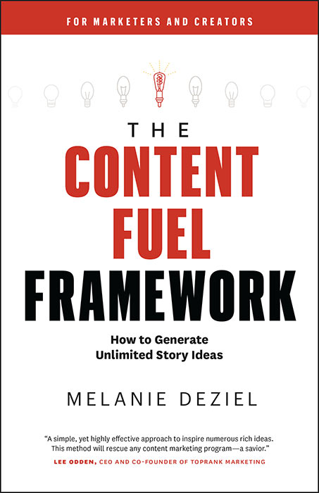new content fuel framework book cover shows how to come up with content ideas for marketing