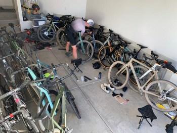 Gravel bikes in a garage