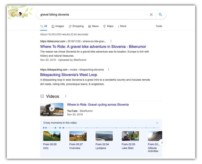 google search for gravel cycling in Slovenia