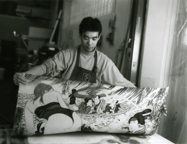 Yasuyuki Shibata removing newly printed impression of Masami Teraoka's 'Kunisada Eclipsed' from 'Hawaii Snorkel Series' woodblock, Tyler Graphics paper mill, Mount Kisco, New York, 1993 Photo: Jim McHugh
