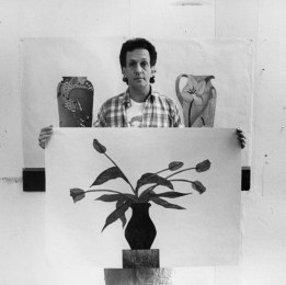 Ed Baynard displaying his 15-colour woodblock print,'The Blue Tulips', Tyler Graphics Ltd.artist's studio, Bedford Village, New York, 1980. Photo: Lindsay Green