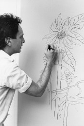 Ed Baynard drawing on an aluminum lithography plate for his 'The Sunflower' print, Tyler Graphics Ltd.artist's studio, Bedford Village, New York, 1980. Photo: Lindsay Green