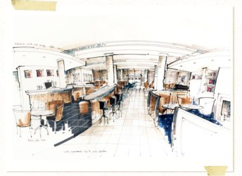 interior drawing sketch perspective rendered rendering sketches marker drawings hand restaurant perspectives architecture exterior richard sketching chadwick presentation hotel architectural