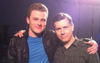 Tyler, on the set with ARCHER's Chris Parnell