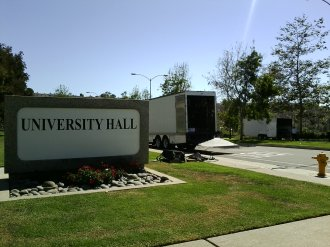 Trucks Unloading at University Hall for jOBS Movie