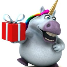Sparkles the Unicorn holding a gift box.