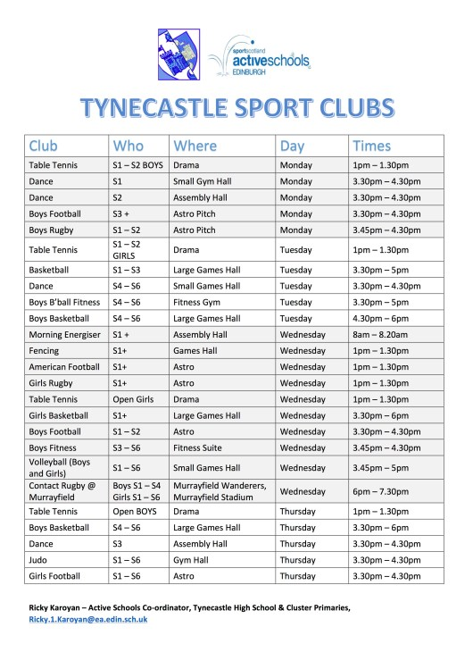 Tynecastle Sport Clubs Flyer 2017