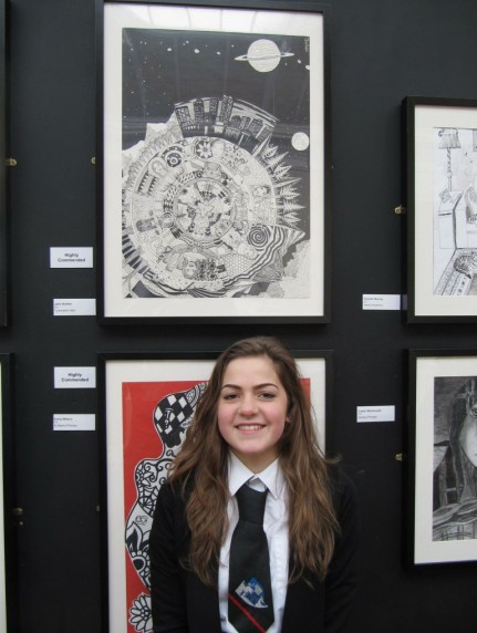 Jane and her highly commended artwork