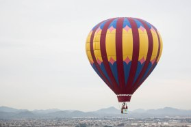 A hot air balloon flies during the Arizona Balloon Classic on March 4, 2017. Photo by Tynin Fries