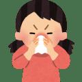 鼻をかんでいる女の子のイラスト