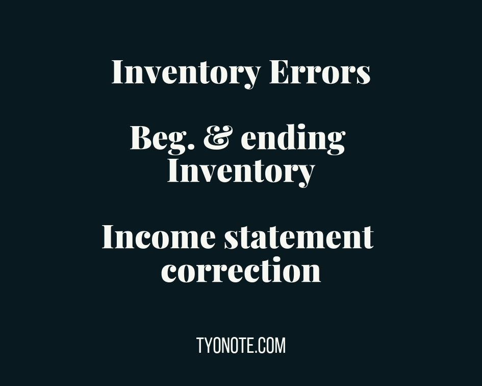 definition: inventory errors: beginning and ending inventory errors and income statement correction