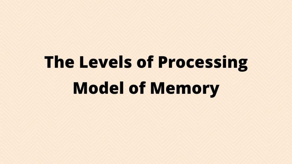 levels of processing model of memory